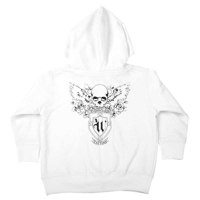 Skull and Wings Logo Kids Toddler Zip-Up Hoody by Wonderland Tattoo Studio's Artist Shop