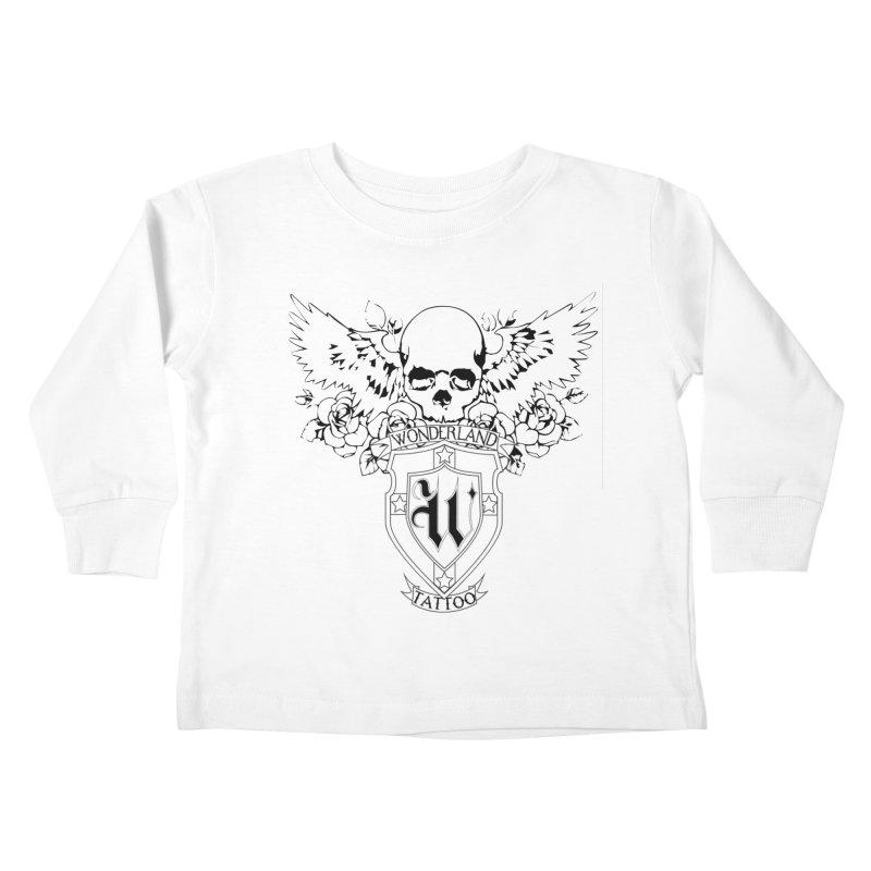 Skull and Wings Logo Kids Toddler Longsleeve T-Shirt by Wonderland Tattoo Studio's Artist Shop