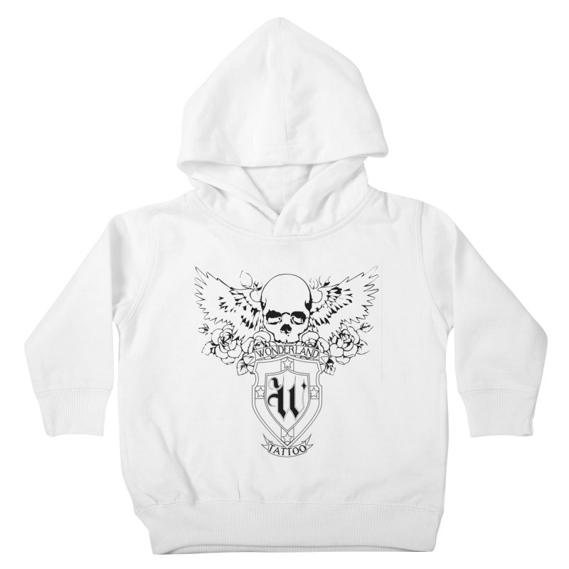 Skull and Wings Logo Kids Toddler Pullover Hoody by Wonderland Tattoo Studio's Artist Shop