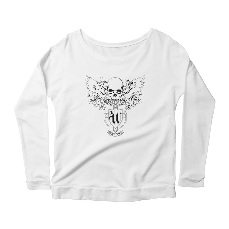 Skull and Wings Logo Women's Scoop Neck Longsleeve T-Shirt by Wonderland Tattoo Studio's Artist Shop