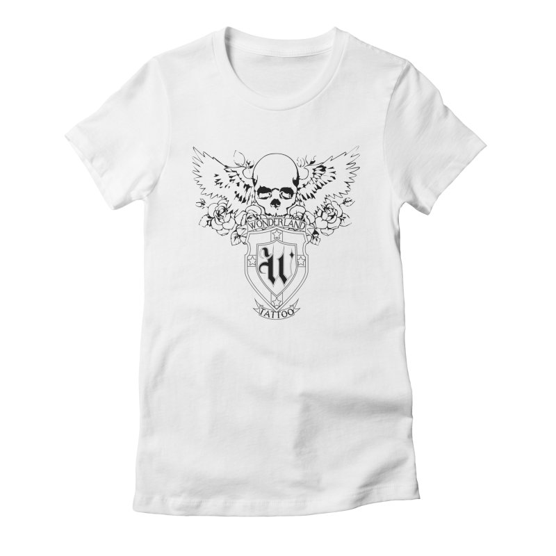 Skull and Wings Logo Women's Fitted T-Shirt by Wonderland Tattoo Studio's Artist Shop