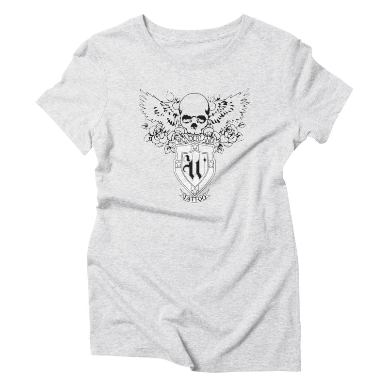 Skull and Wings Logo Women's Triblend T-Shirt by Wonderland Tattoo Studio's Artist Shop