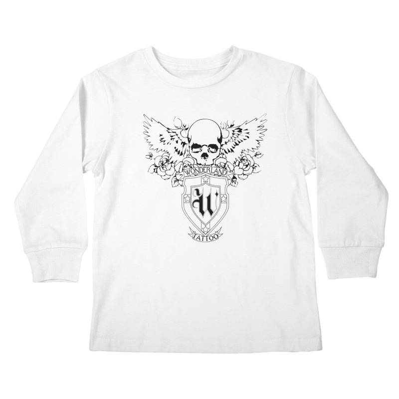 Skull and Wings Logo Kids Longsleeve T-Shirt by Wonderland Tattoo Studio's Artist Shop