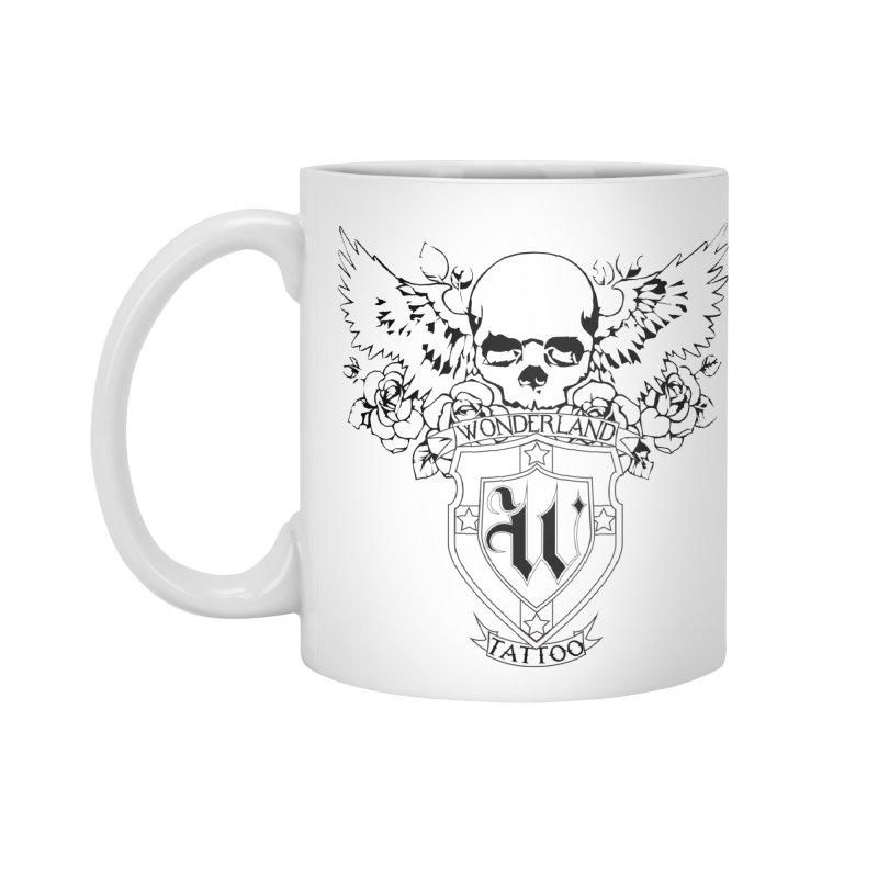 Skull and Wings Logo Accessories Mug by Wonderland Tattoo Studio's Artist Shop