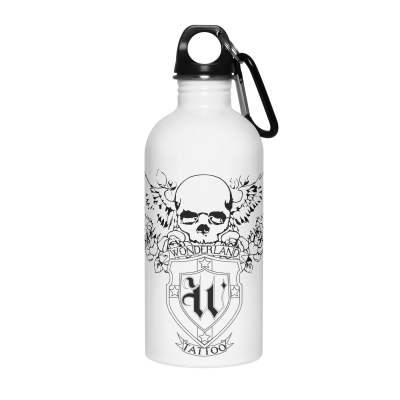 Skull and Wings Logo Accessories Water Bottle by Wonderland Tattoo Studio's Artist Shop