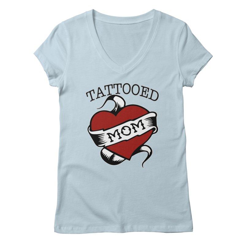 Tattooed Mom Women's V-Neck by Wonderland Tattoo Studio's Artist Shop
