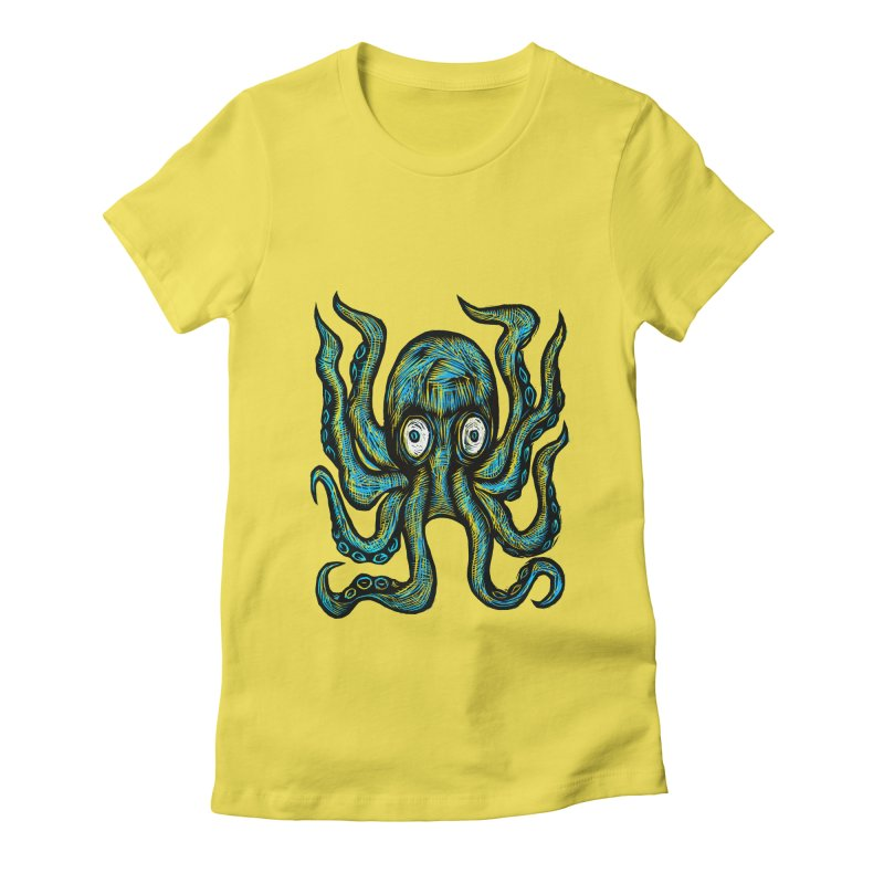 Octopus Women's Fitted T-Shirt by Sean StarWars' Artist Shop