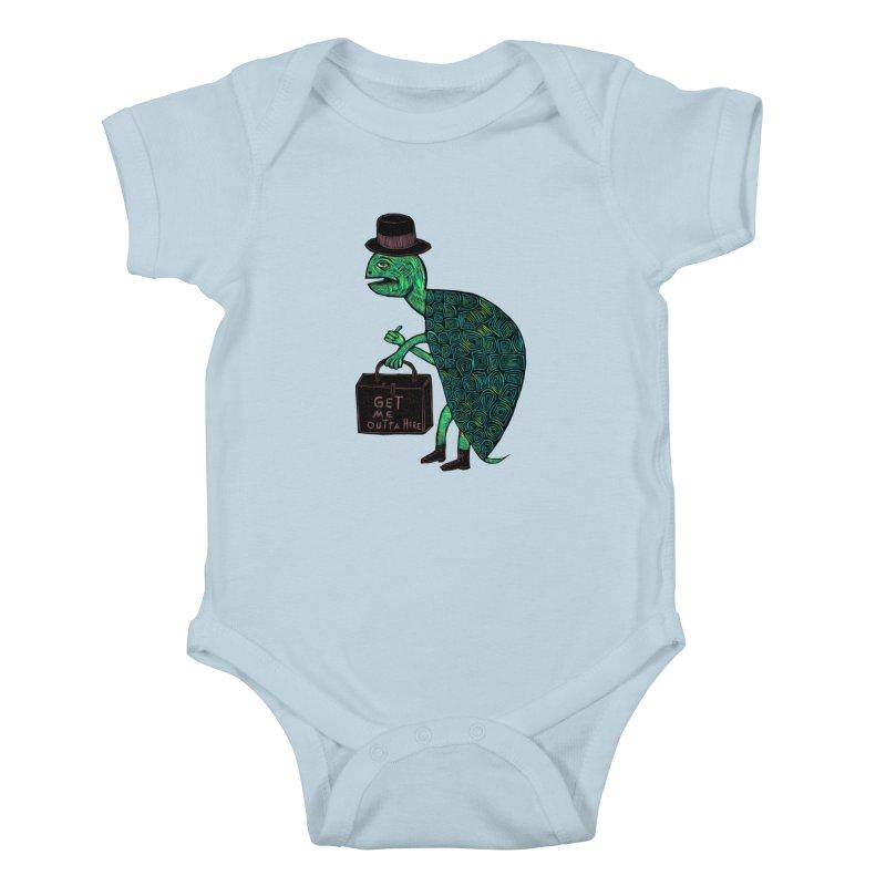 Tophat Turtle Kids Baby Bodysuit by Sean StarWars' Artist Shop