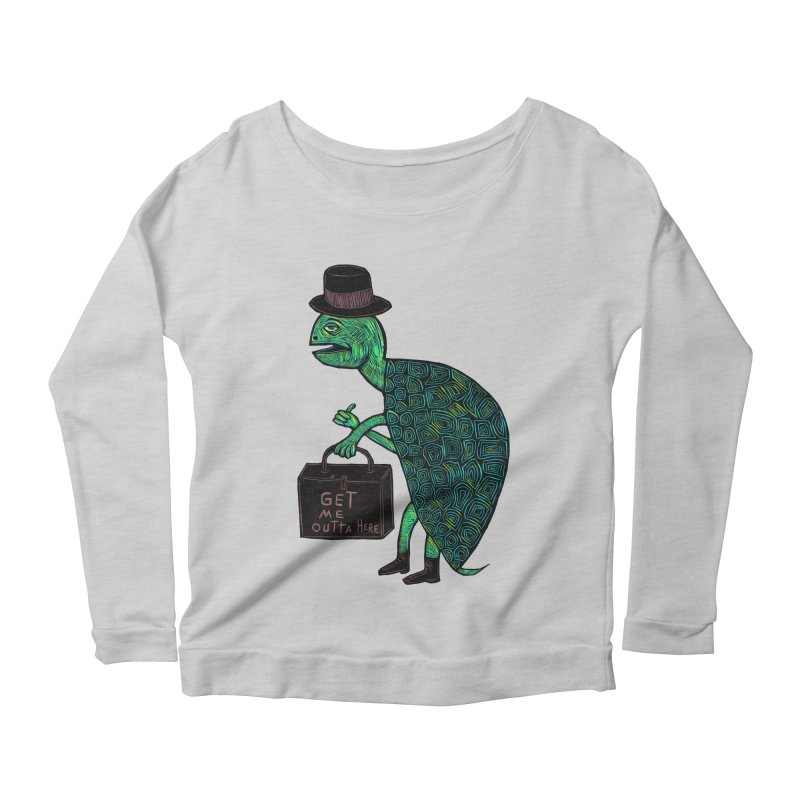 Tophat Turtle Women's Longsleeve Scoopneck  by Sean StarWars' Artist Shop