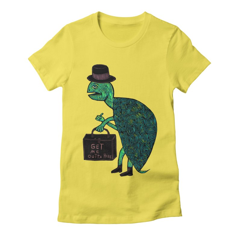 Tophat Turtle Women's Fitted T-Shirt by Sean StarWars' Artist Shop