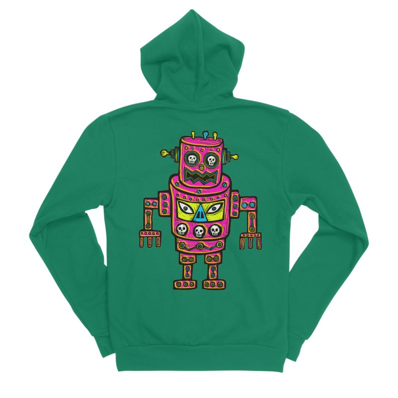 Skull Eyed Robot Women's Sponge Fleece Zip-Up Hoody by Sean StarWars' Artist Shop