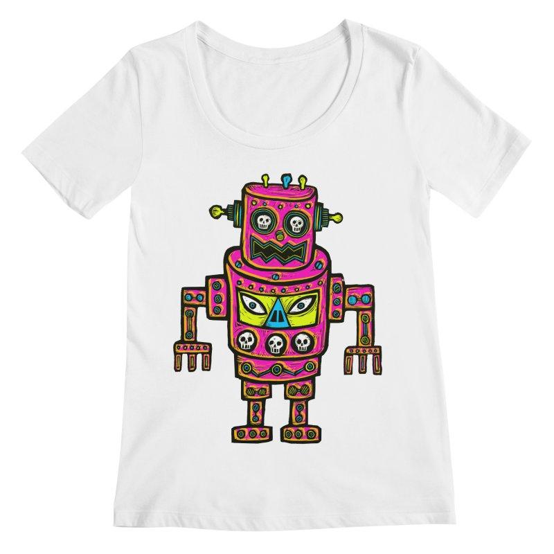 Skull Eyed Robot Women's Regular Scoop Neck by Sean StarWars' Artist Shop