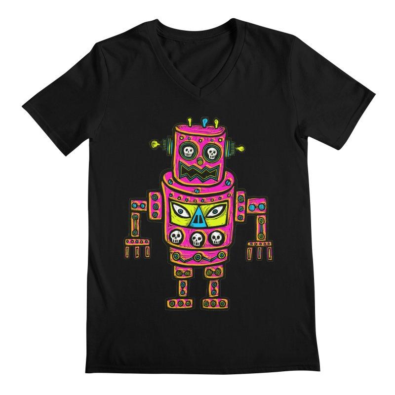 Skull Eyed Robot Men's Regular V-Neck by Sean StarWars' Artist Shop