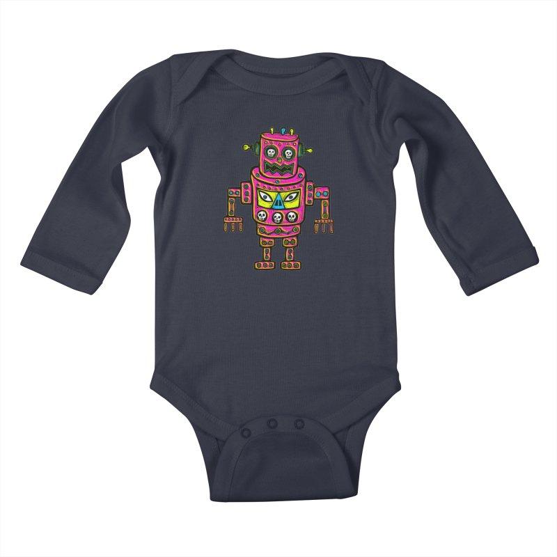 Skull Eyed Robot Kids Baby Longsleeve Bodysuit by Sean StarWars' Artist Shop