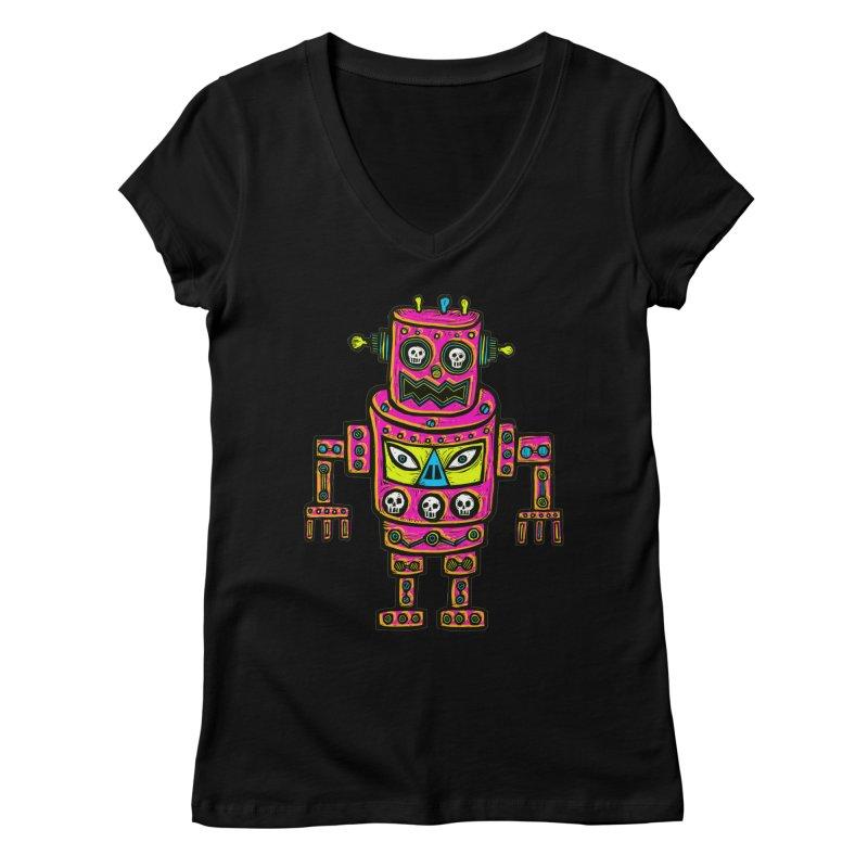 Skull Eyed Robot Women's V-Neck by Sean StarWars' Artist Shop