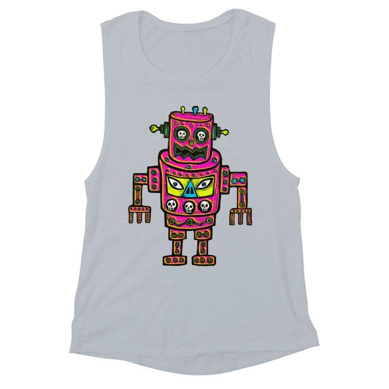 Skull Eyed Robot Women's Muscle Tank by Sean StarWars' Artist Shop