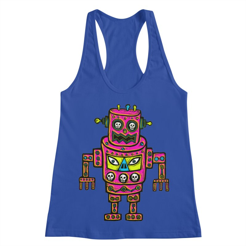 Skull Eyed Robot Women's Racerback Tank by Sean StarWars' Artist Shop