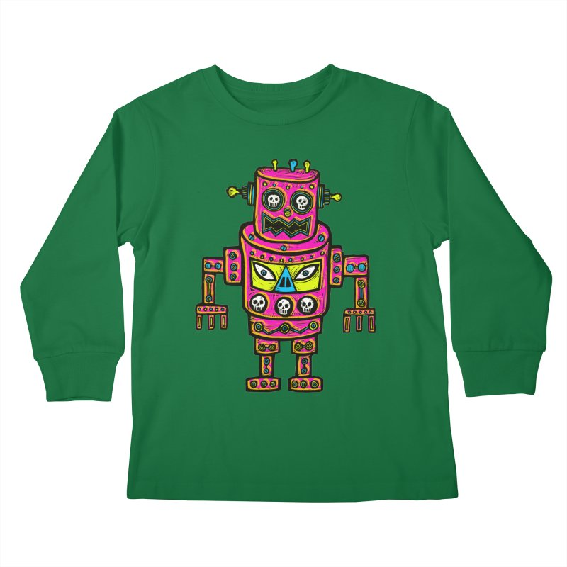 Skull Eyed Robot Kids Longsleeve T-Shirt by Sean StarWars' Artist Shop