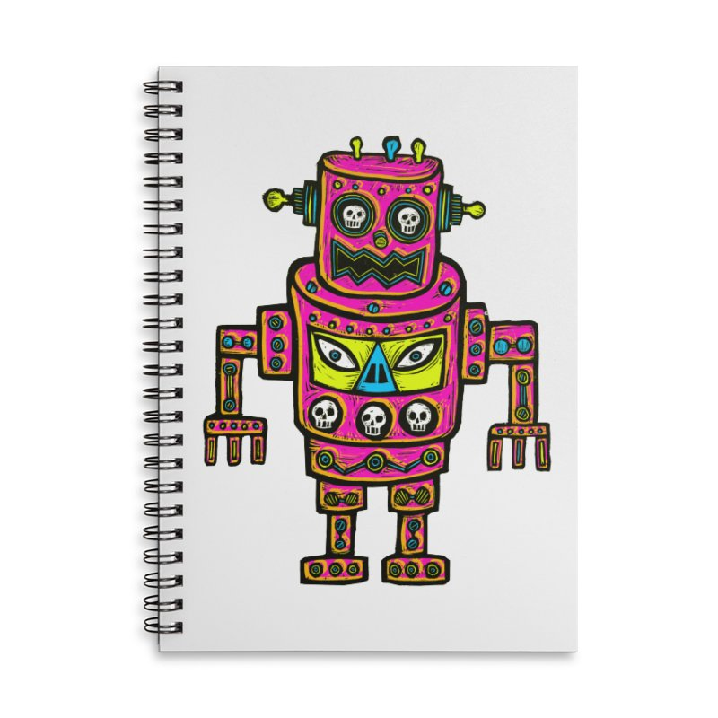 Skull Eyed Robot Accessories Lined Spiral Notebook by Sean StarWars' Artist Shop