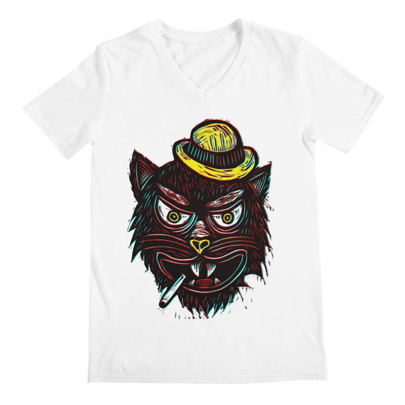 Tough Cat Men's Regular V-Neck by Sean StarWars' Artist Shop