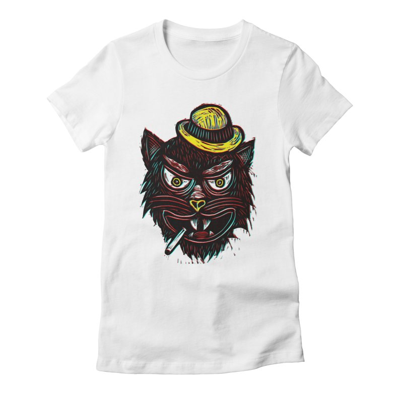Tough Cat Women's Fitted T-Shirt by Sean StarWars' Artist Shop