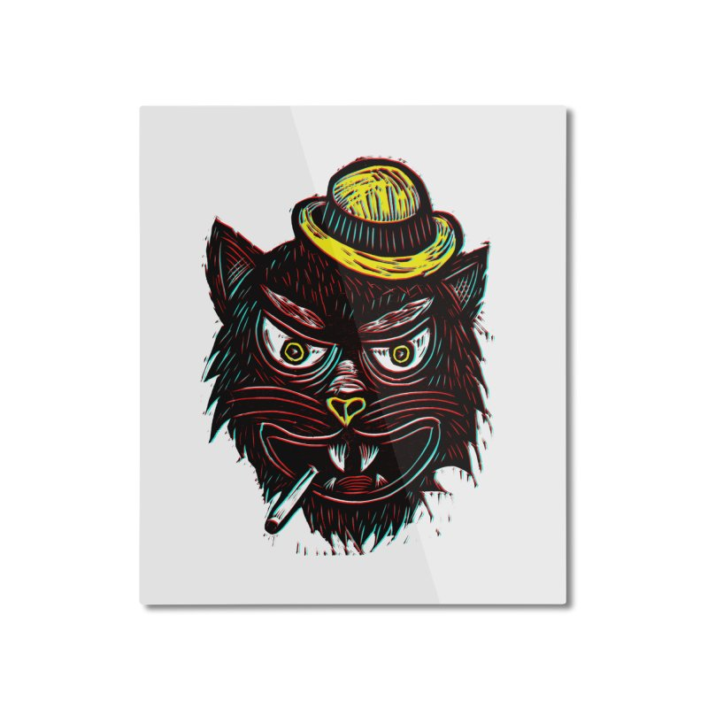 Tough Cat Home Mounted Aluminum Print by Sean StarWars' Artist Shop