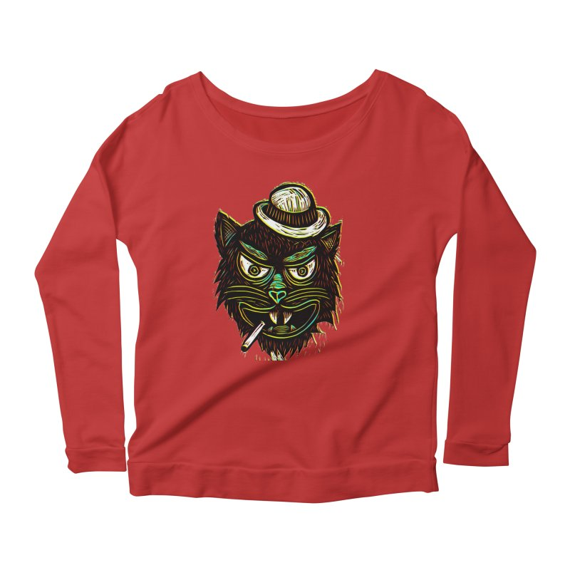 Tough Cat Women's Longsleeve Scoopneck  by Sean StarWars' Artist Shop