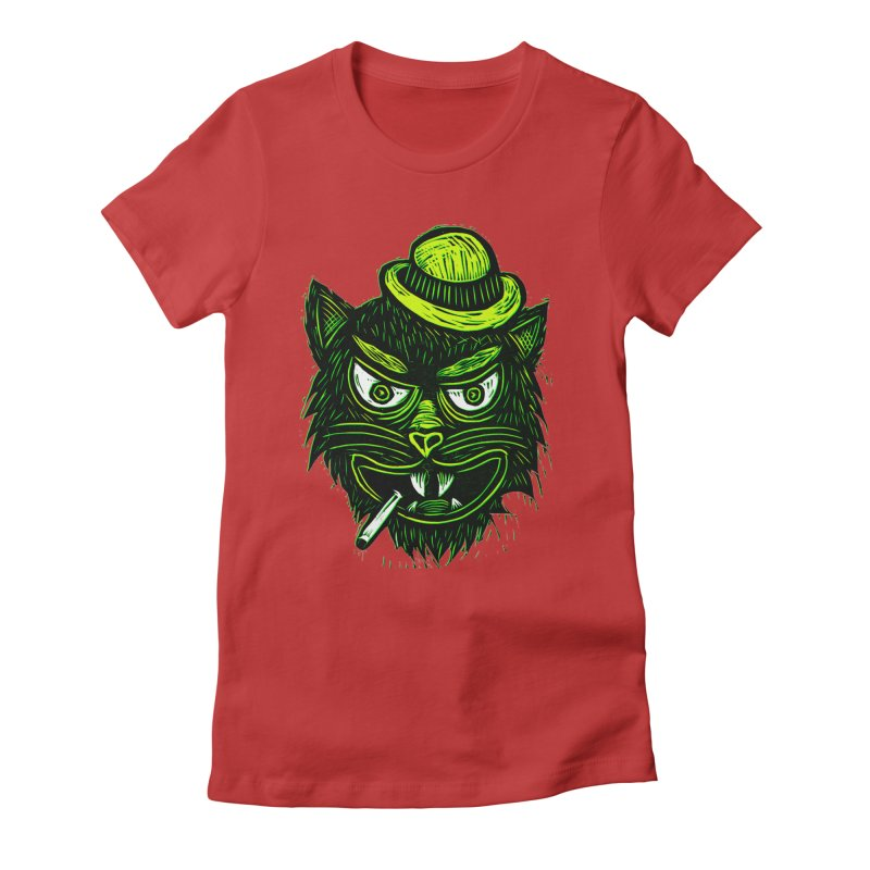 Tough Cat Women's Fitted T-Shirt by Sean StarWars' Artist Shop