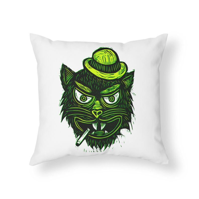 Tough Cat Home Throw Pillow by Sean StarWars' Artist Shop