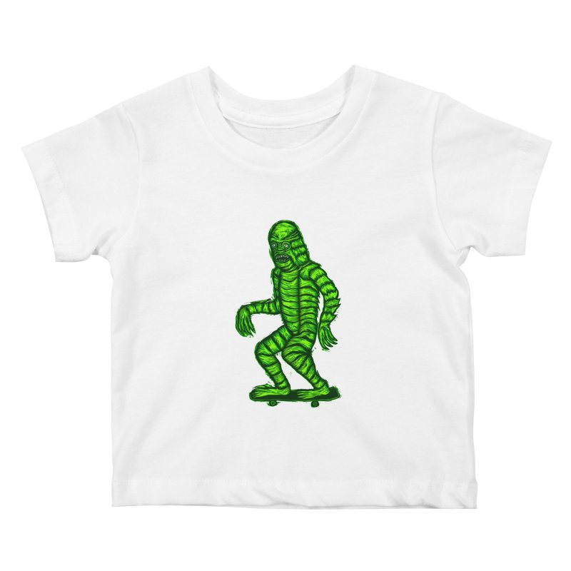 The Creature Skates Among Us Kids Baby T-Shirt by Sean StarWars' Artist Shop