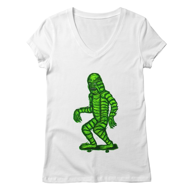 The Creature Skates Among Us Women's Regular V-Neck by Sean StarWars' Artist Shop