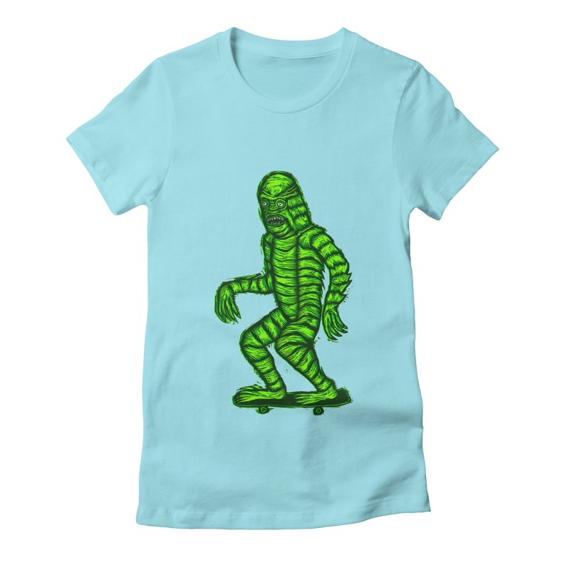 The Creature Skates Among Us Women's Fitted T-Shirt by Sean StarWars' Artist Shop