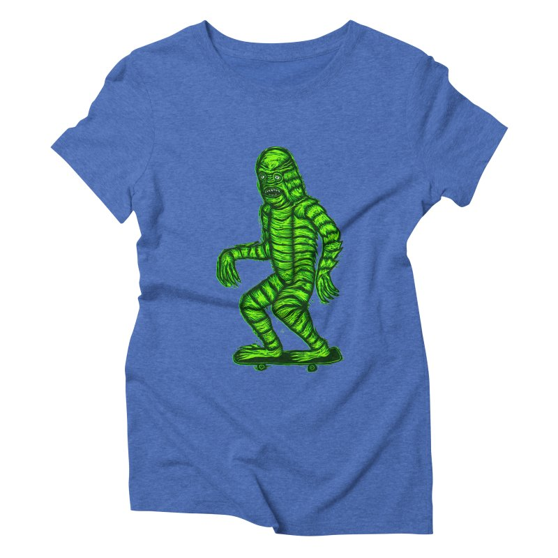 The Creature Skates Among Us Women's Triblend T-Shirt by Sean StarWars' Artist Shop