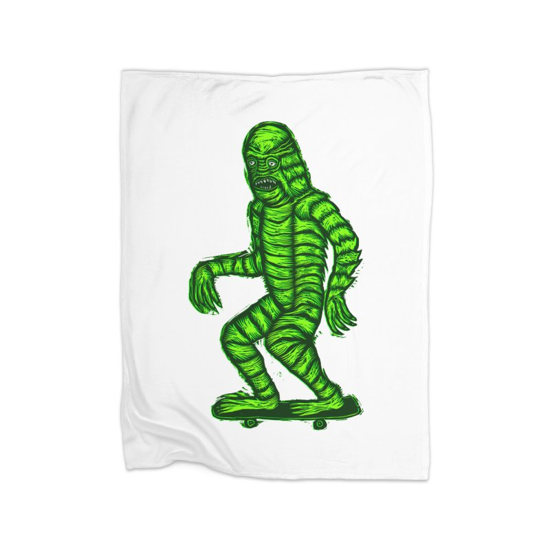 The Creature Skates Among Us Home Fleece Blanket Blanket by Sean StarWars' Artist Shop