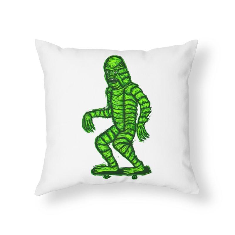 The Creature Skates Among Us Home Throw Pillow by Sean StarWars' Artist Shop