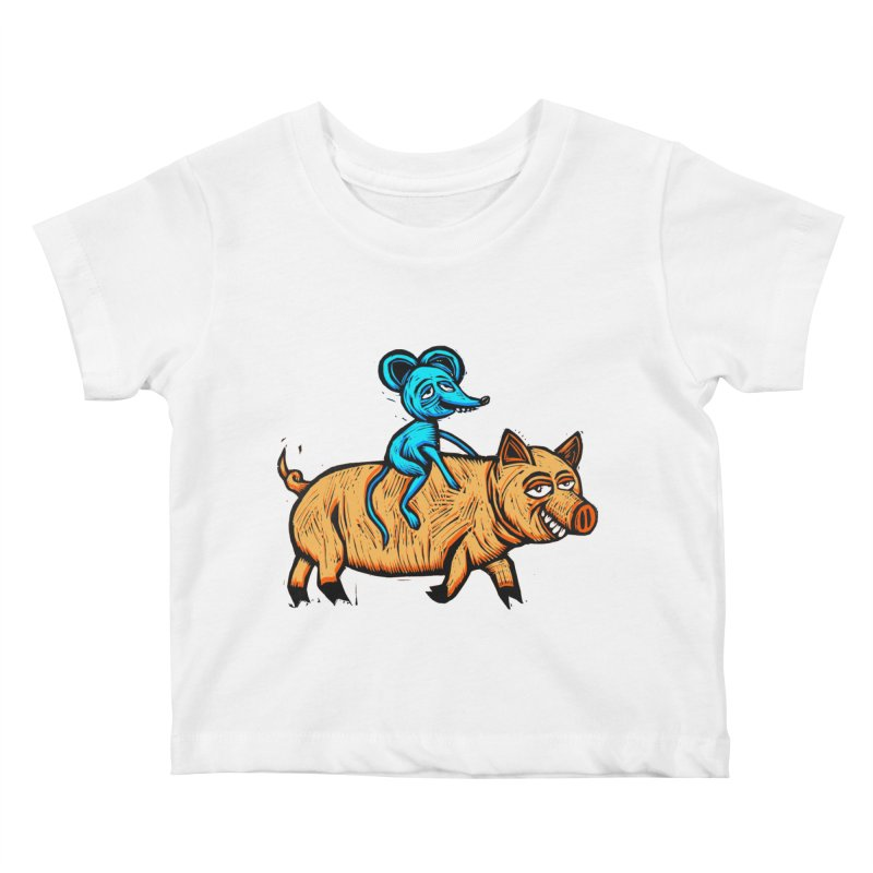 Piggyback Ride Kids Baby T-Shirt by Sean StarWars' Artist Shop
