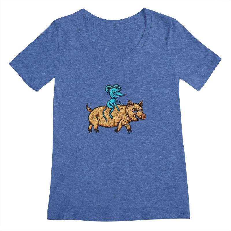 Piggyback Ride Women's Regular Scoop Neck by Sean StarWars' Artist Shop