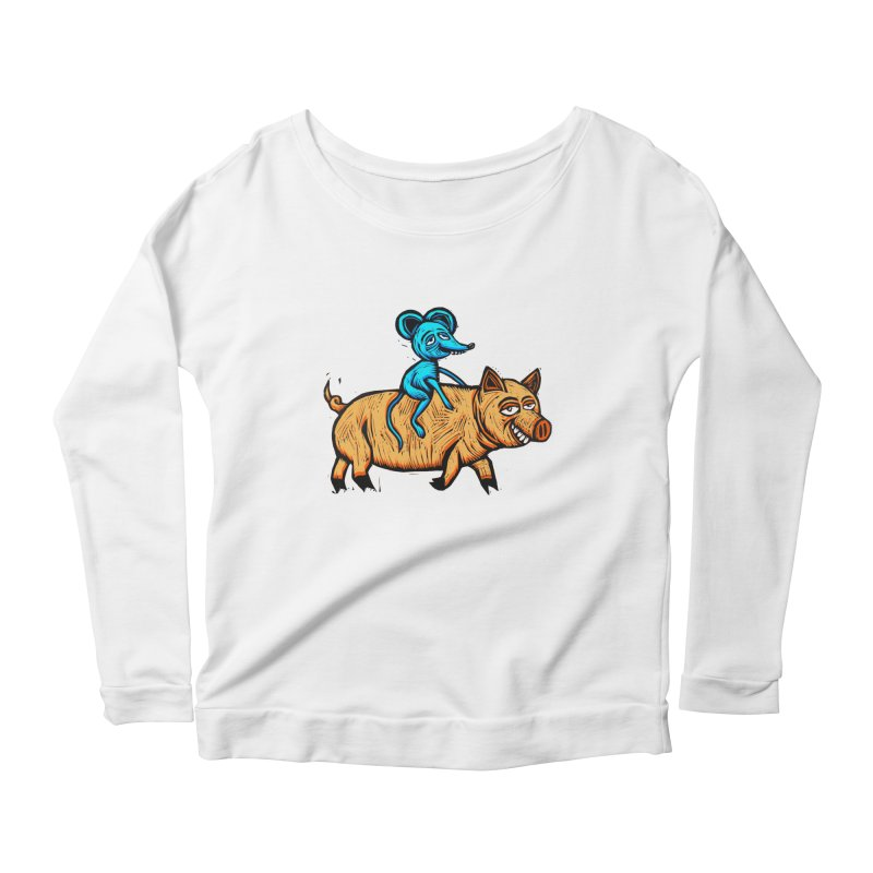 Piggyback Ride Women's Longsleeve Scoopneck  by Sean StarWars' Artist Shop
