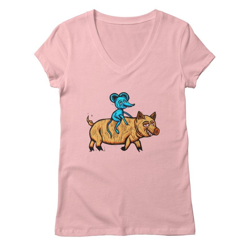 Piggyback Ride Women's V-Neck by Sean StarWars' Artist Shop