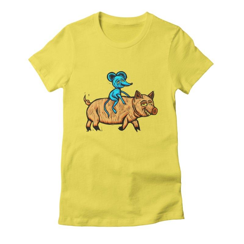 Piggyback Ride Women's Fitted T-Shirt by Sean StarWars' Artist Shop