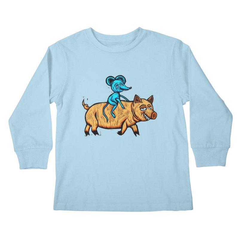 Piggyback Ride Kids Longsleeve T-Shirt by Sean StarWars' Artist Shop