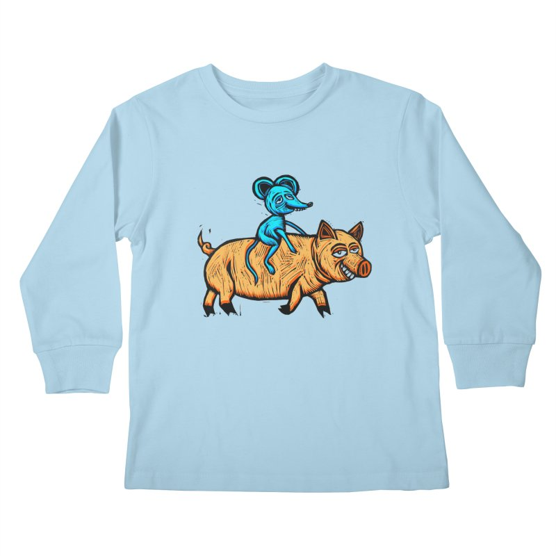 Piggyback Ride Kids Longsleeve T-Shirt by Sean StarWars' Artist Shop