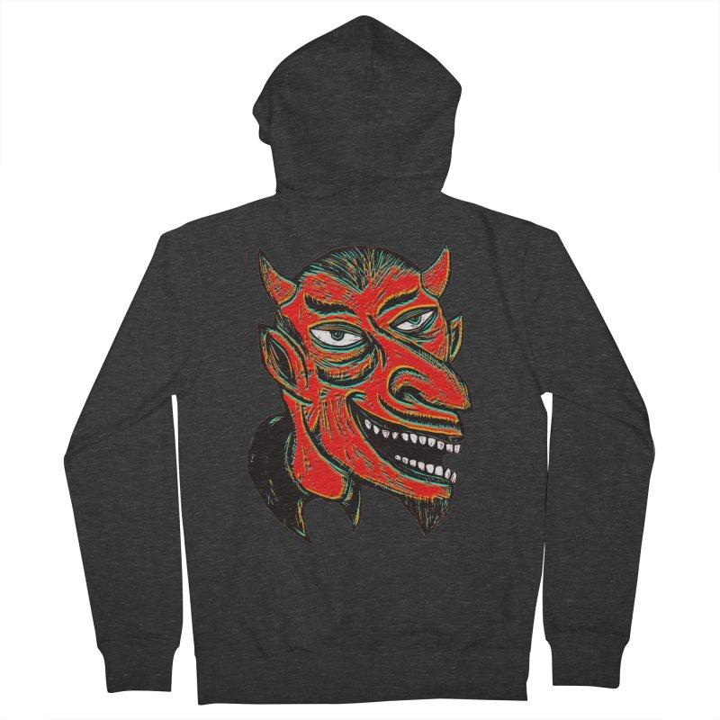 Devil Head Men's French Terry Zip-Up Hoody by Sean StarWars' Artist Shop