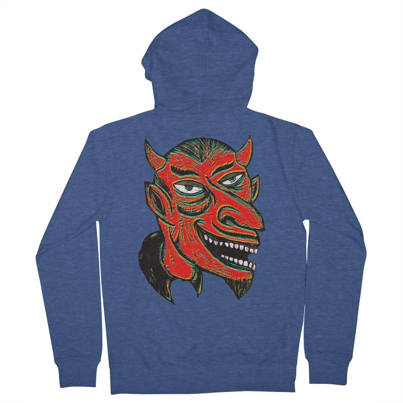 Devil Head Men's French Terry Zip-Up Hoody by Sean StarWars' Artist Shop