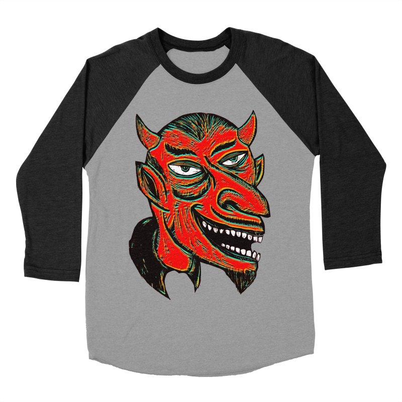 Devil Head Women's Baseball Triblend T-Shirt by Sean StarWars' Artist Shop