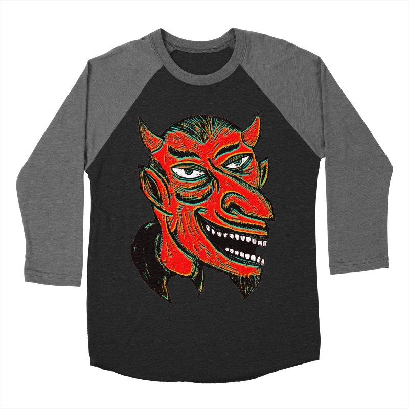Devil Head Men's Baseball Triblend T-Shirt by Sean StarWars' Artist Shop
