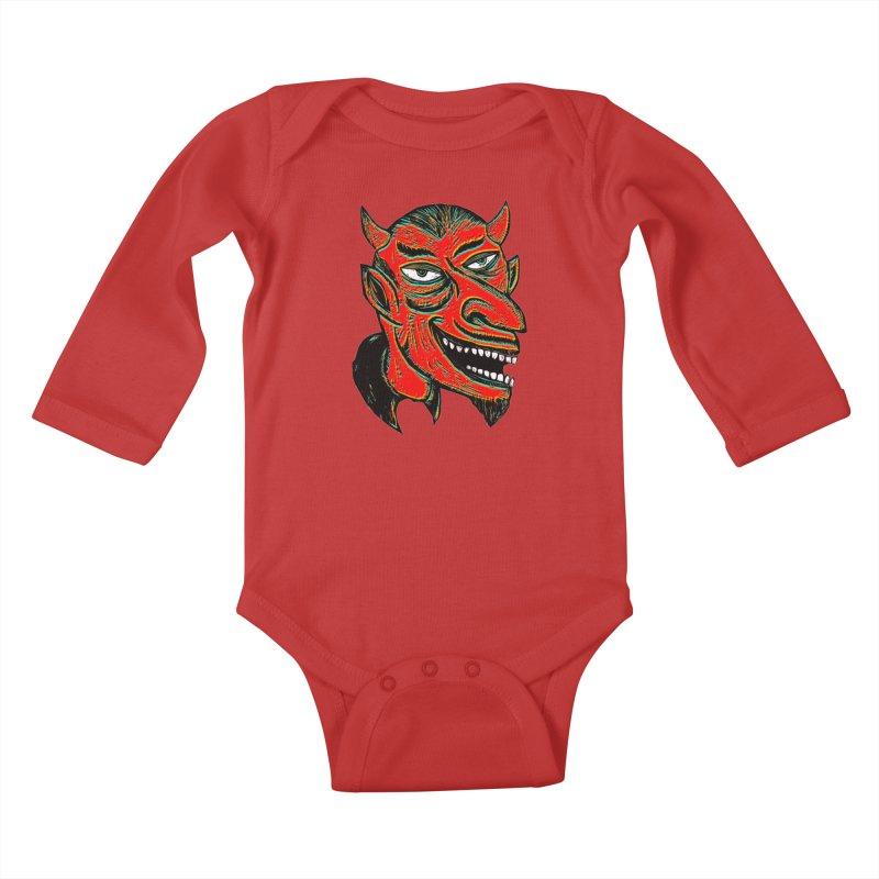 Devil Head Kids Baby Longsleeve Bodysuit by Sean StarWars' Artist Shop