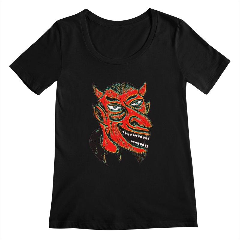 Devil Head Women's Scoopneck by Sean StarWars' Artist Shop