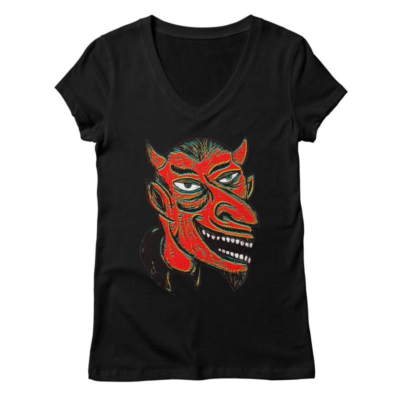 Devil Head Women's V-Neck by Sean StarWars' Artist Shop