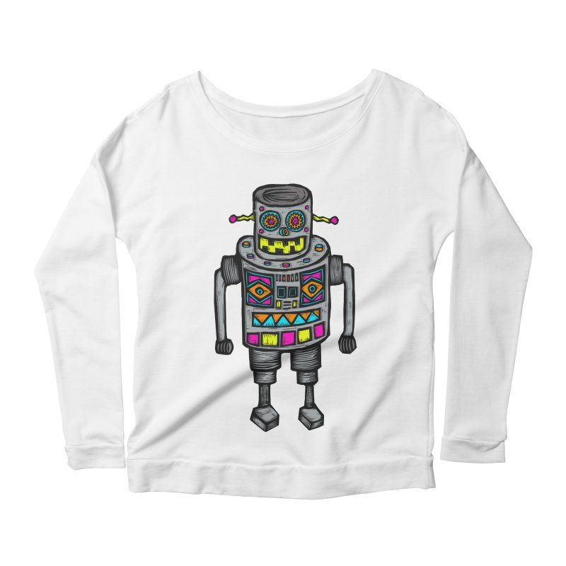 Robot 67 Women's Scoop Neck Longsleeve T-Shirt by Sean StarWars' Artist Shop